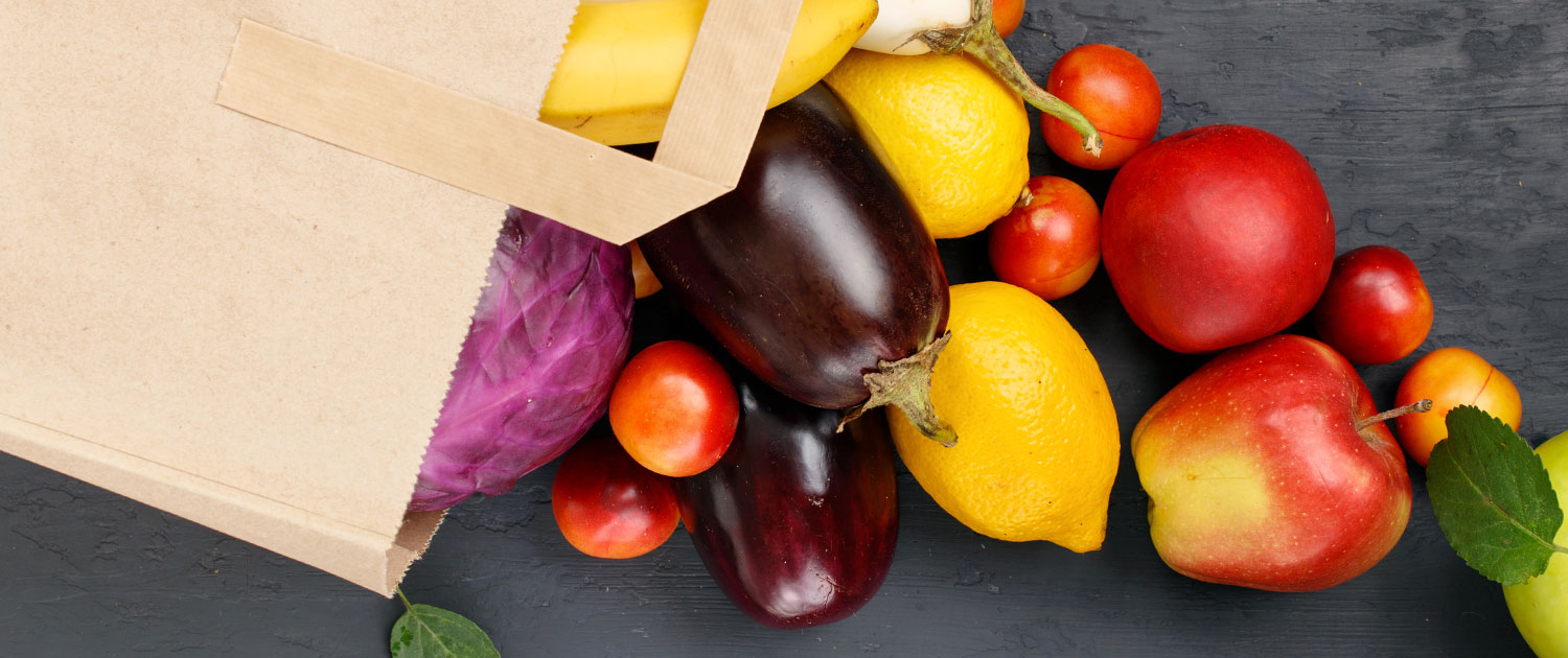 grocery bag with produce
